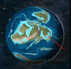 Silurian Sweden (red line points to Goland, Sweden)