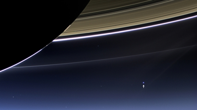 Earth from under Saturns Rings - our planet so wonderful in the expanse of space