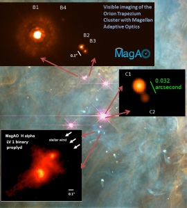 The 4 stars in The Trapezium in the Orion Nebula now shown as doubles by the MagAO