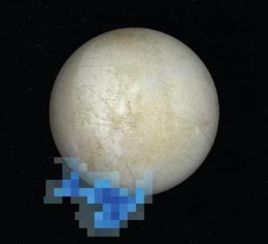 Europa - moon by Galileo space probe and water vapour data by Hubble Space Telescope (2012)