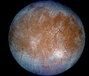 Europa - Jupiter's Moon - false colours showing ice and cracks