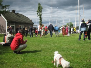 Midsummer Sweden - 1430 Friday 20 June 2014 - midsummer pole dancing, Lake Ekoln sailing club, Uppsala
