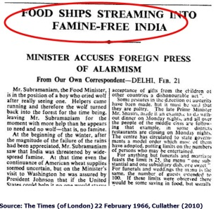 Famine free 1966 India receives food shipments from USA to keep up the overpopulation myth