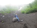 Mt Fuji, Japan - 1200 23 June 2015 - Brady half way up on mudstone on volcanic scree slope