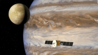 Jupiter moon probe Juice from EU orbits Ganymede looking life in its ice covered oceans