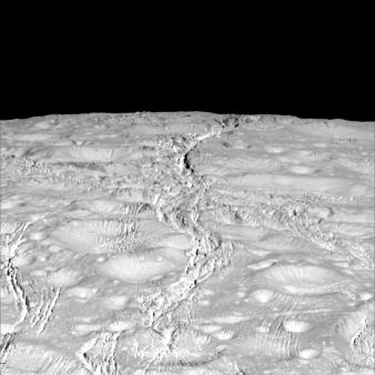 Enceladus- north pole crater floors bulging from ice crust flowing over warmer core