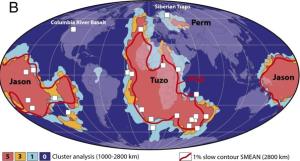 Core Mantel Plumes continents - Jason and Tuzo on world map