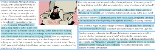Bullying, Trauma & Prejustice seen as concept creep in universities because in high schools feelings determine facts