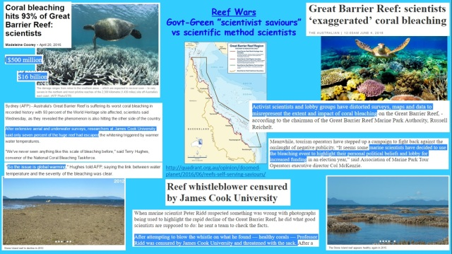 Reef Wars - Govt Green scientivist saviours vs scientific method scientists