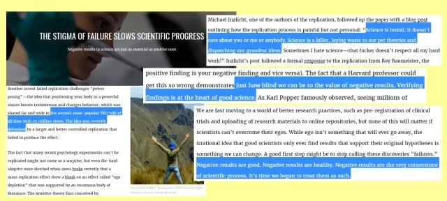 Scientific Egos stop Scientific Failures from making Scientific Progress